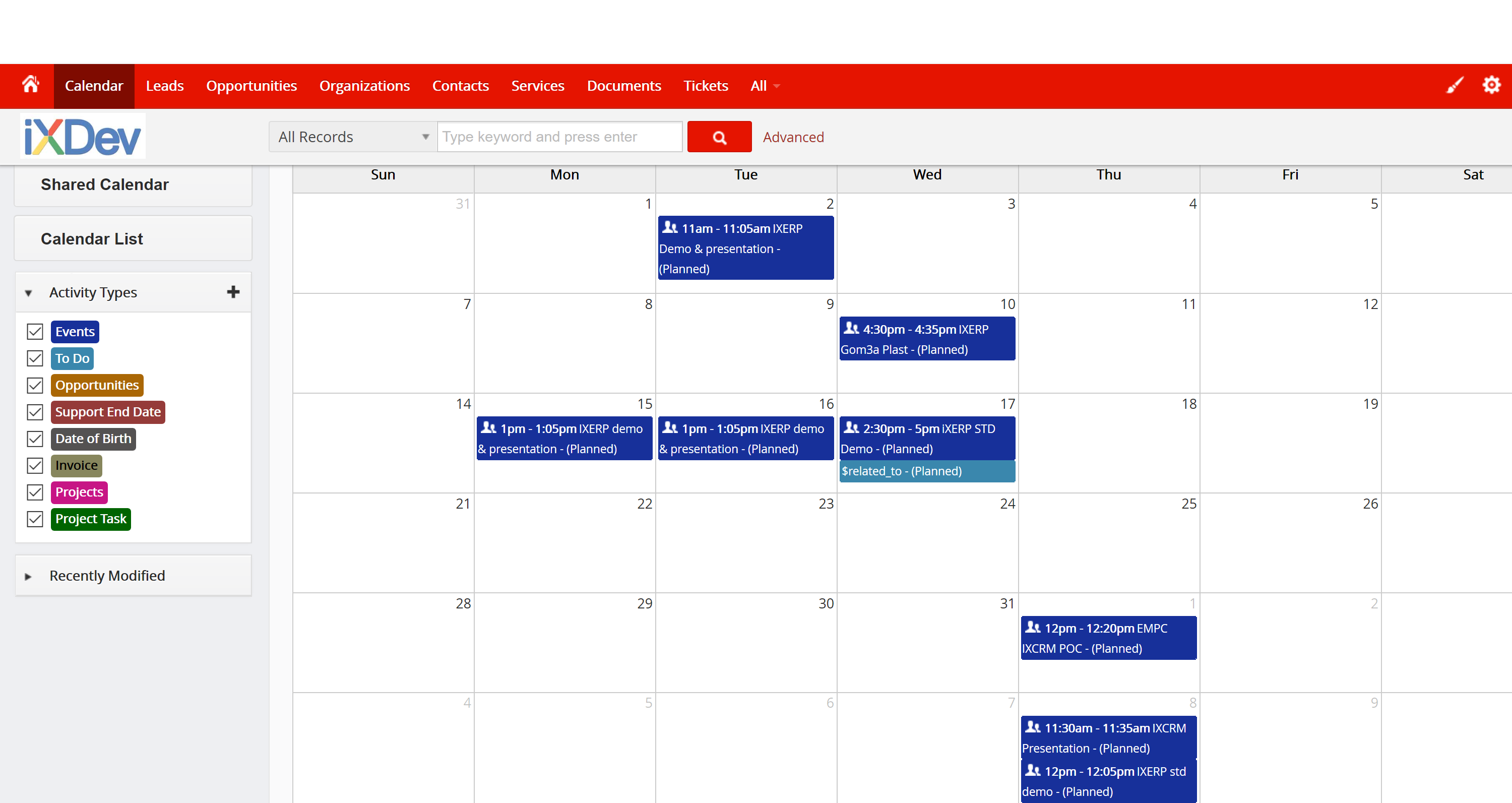 iXCRM Calendar Screenshot